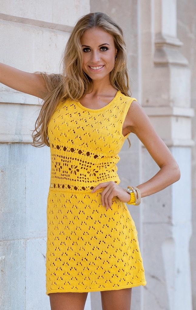 платье вязанное крючком желтое без рукава