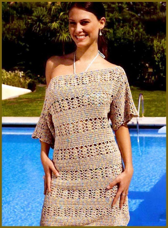 платье вязанное крючком короткий ркак открытое плечо
