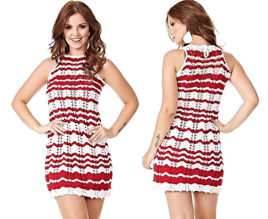 платье вязанное крючком короткое без рукава красно-белое