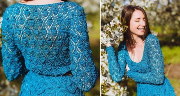 платье вязанное крючком синее осень-весна