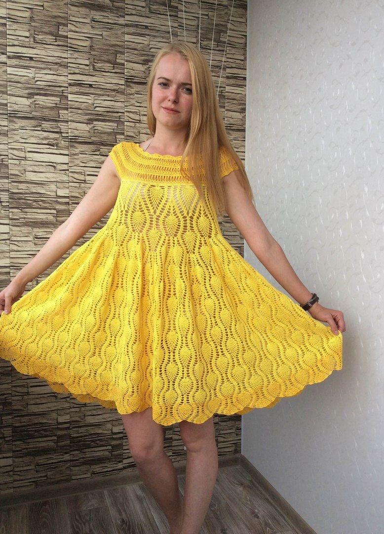 платье вязанное крючком желтое на плечах