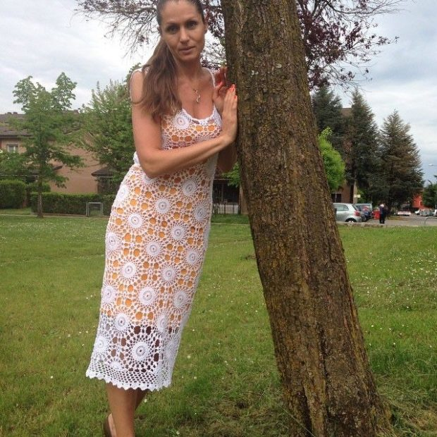 платье вязанное крючком миди