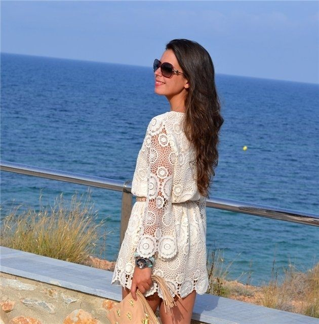 платье вязанное крючком летнее белое короткое
