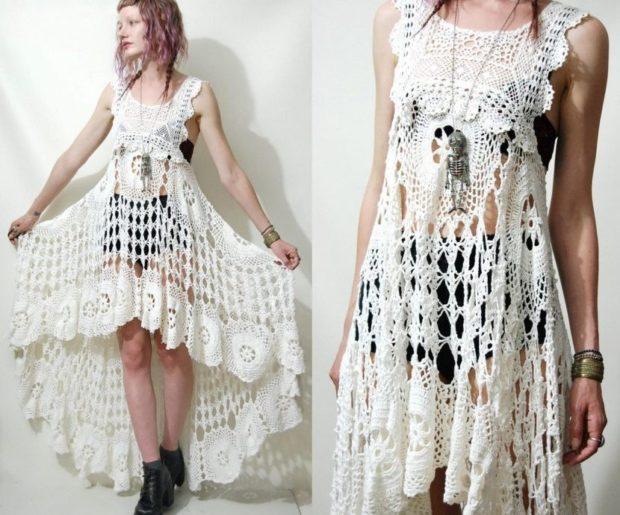платье вязанное крючком белое длинное со шлейфом