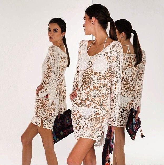 платье вязанное крючком белое летнее короткое