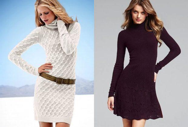 вязанное платье белое фиолетовое темное зимние