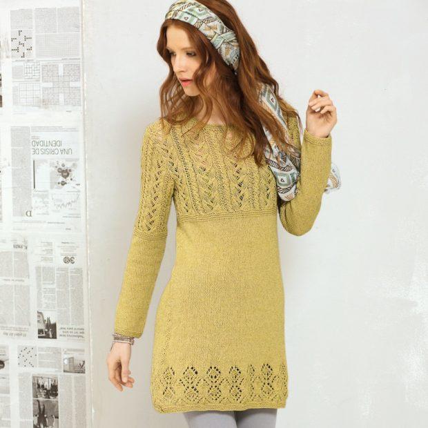 платье вязанное крючком желтое с рукавом короткое