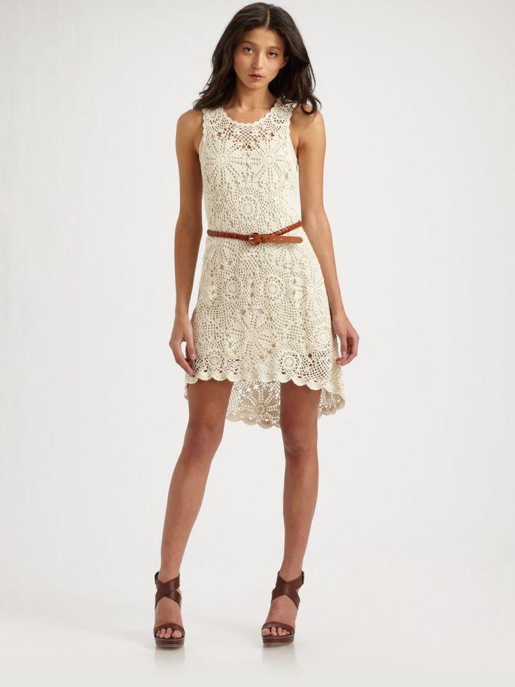 платье вязанное крючком белое без рукава