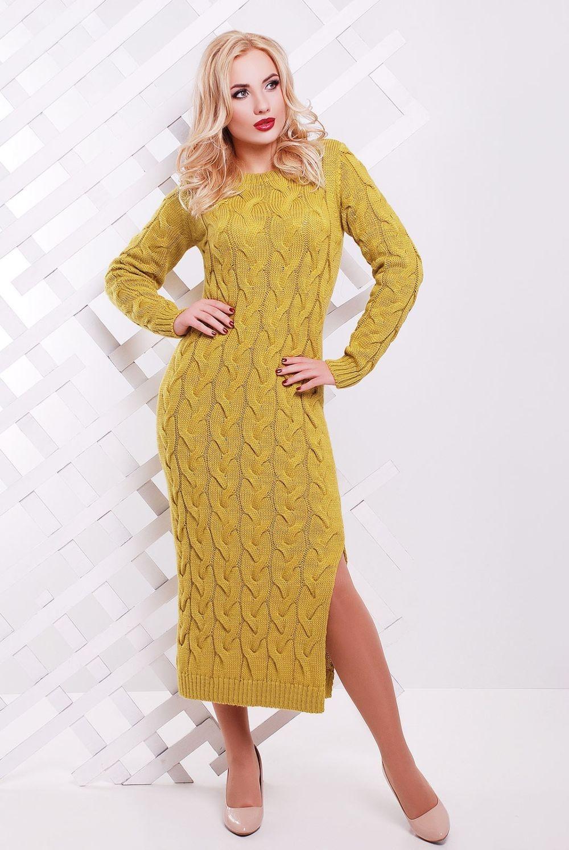 платье вязанное крючком длинное желтое  с разрезом