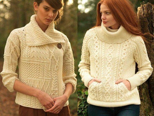 Модные женские свитера 2019-2020: вязаный кремового цвета