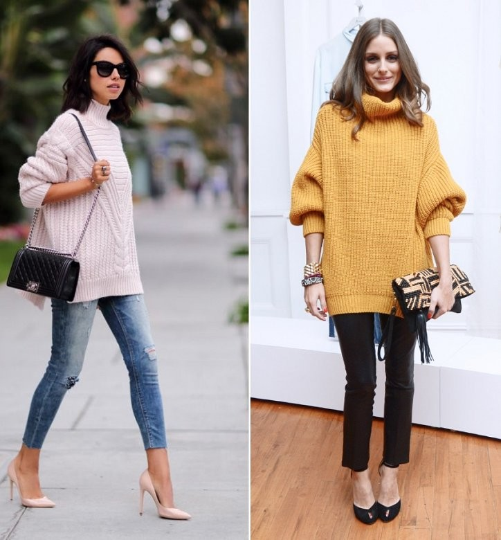 Модные свитера 2018 женские:вязаный свитер розового и рыжего цвета