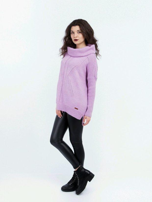 Модные женские свитера 2019-2020: вязаный фиолетового цвета