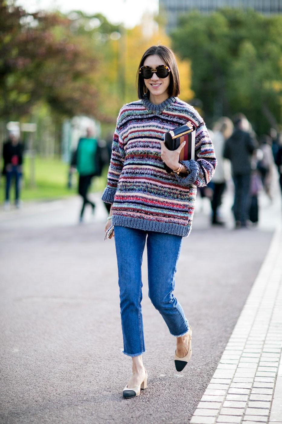 Модные свитера 2018 женские:вязаный свитер в полоску