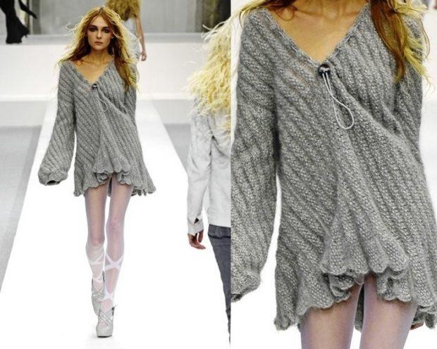 Модные женские свитера 2019-2020: вязаный серого цвета