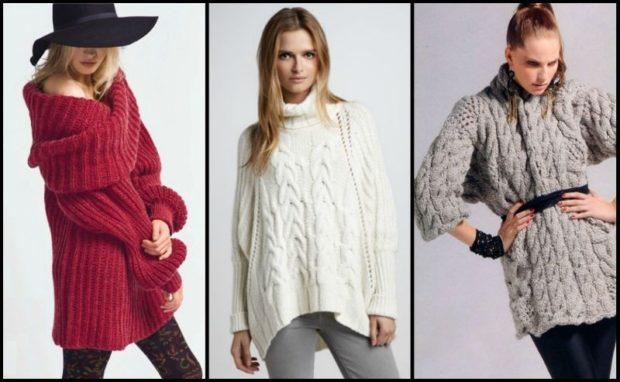 Модные женские свитера 2019-2020: вязаный красного белого серого цвета