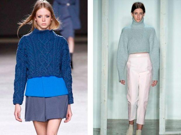 Модные женские свитера 2019-2020: вязаный синего и бирюзового цвета