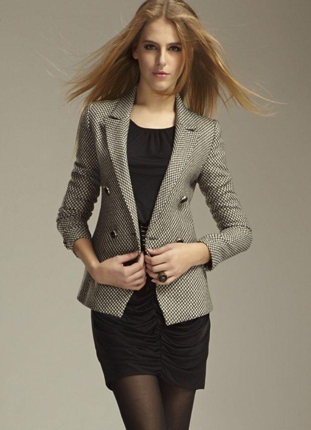 модные пиджаки 2019-2020 женские фото: гусиная лапка серый