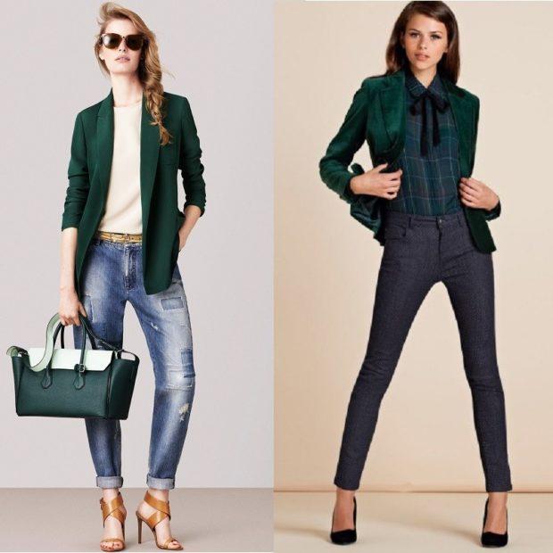модные пиджаки 2018 женские фото: зеленый рукав 3/4 короткий атласный