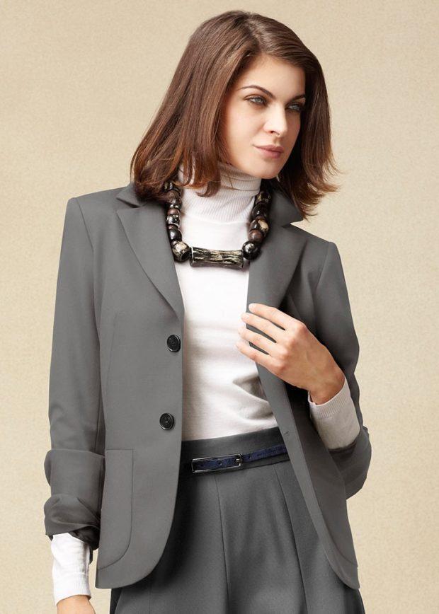 модные пиджаки 2019-2020 женские фото: серый оверсайз