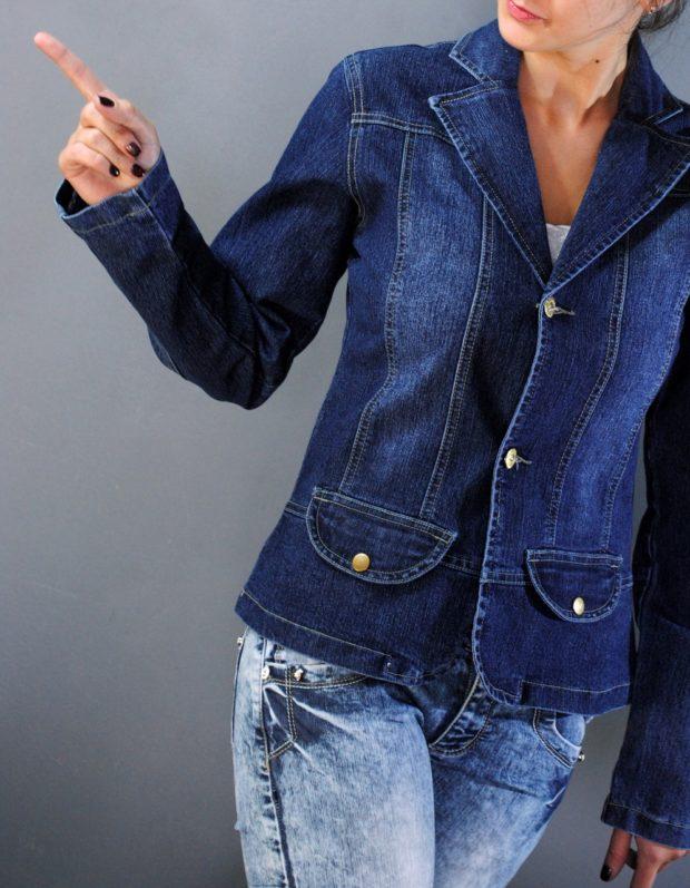 пиджаки женские модные в 2019-2020 году: джинсовый синий классика