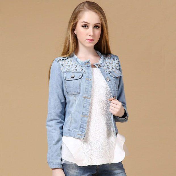 пиджаки женские модные в 2018 году: джинсовый короткий голубой