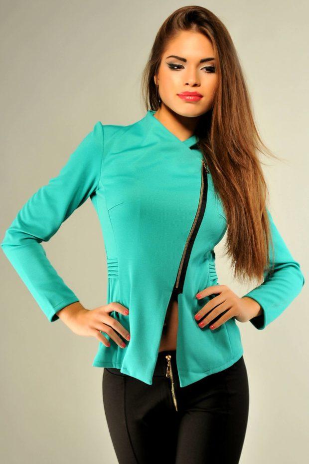 модные пиджаки 2019-2020 женские фото: бирюзовый на змейке