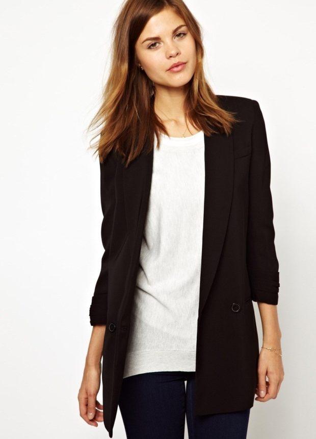 пиджаки женские модные в 2019-2020 году: классика черный удлиненный