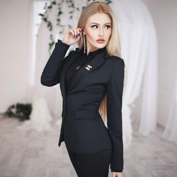 пиджаки женские модные в 2018 году: черный классика приталенный