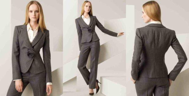 женский пиджак 2018 года модные тенденции: серый в полоску классика