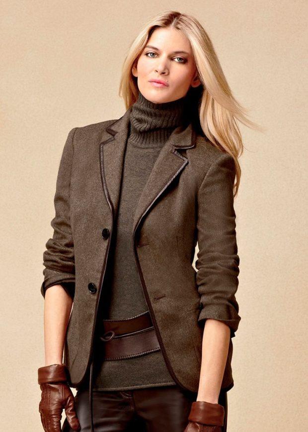 модные пиджаки 2019-2020 женские фото: коричневый на пуговках