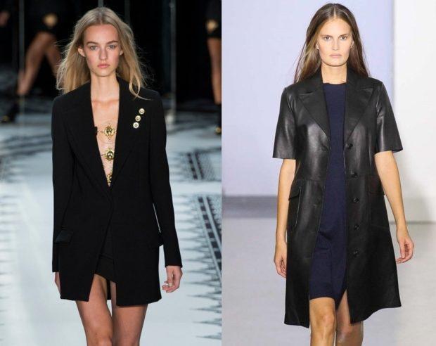 женский пиджак 2018 года модные тенденции: длинный черный кожаный черный рукав короткий