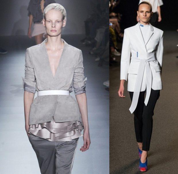 женский пиджак 2018 года модные тенденции: с поясом серый белый