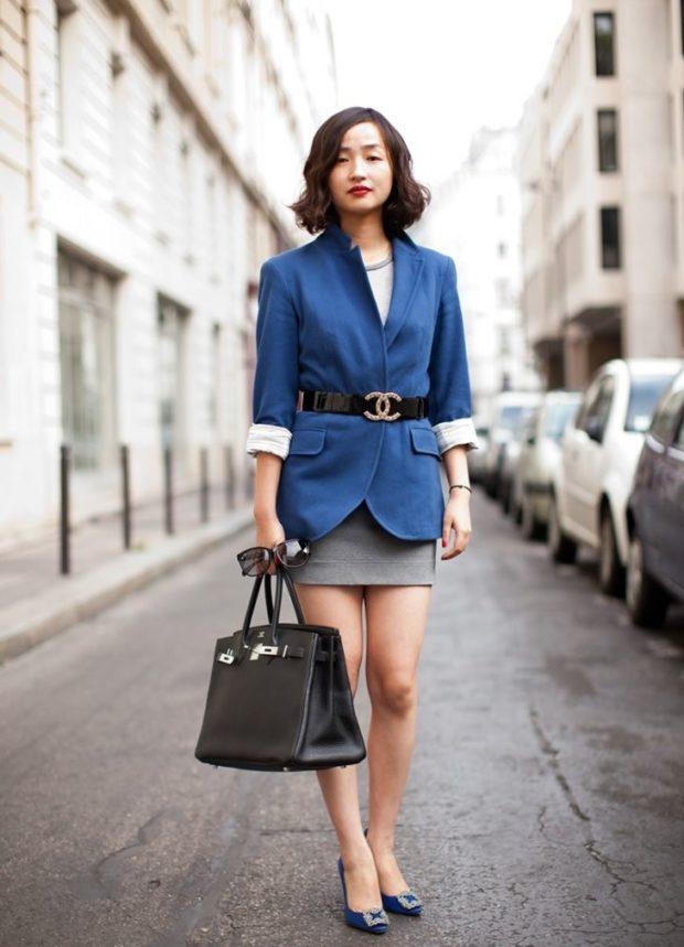 женский пиджак 2019-2020 года модные тенденции:с поясом рукав 3/4