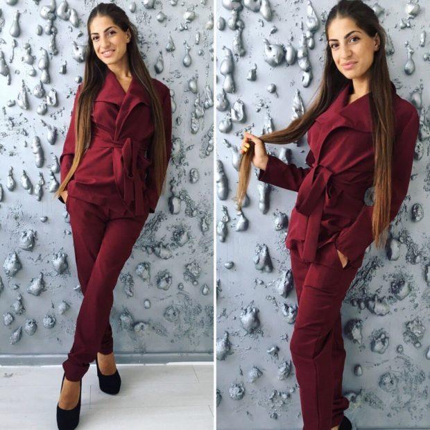 женский пиджак 2018 года модные тенденции: с поясом красный приталенный