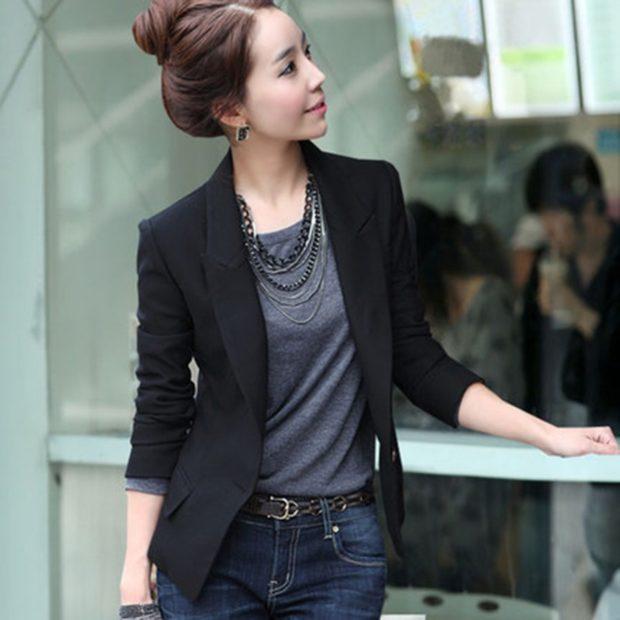 модные пиджаки 2019-2020 женские фото: черный рукав 3/4