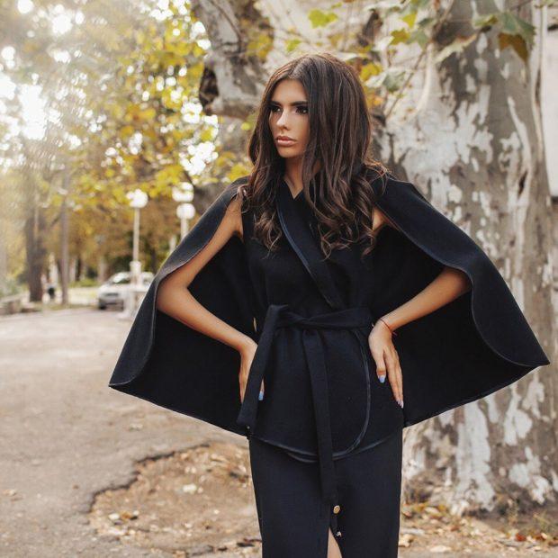 женские пиджаки 2018 года фото: кейп черный