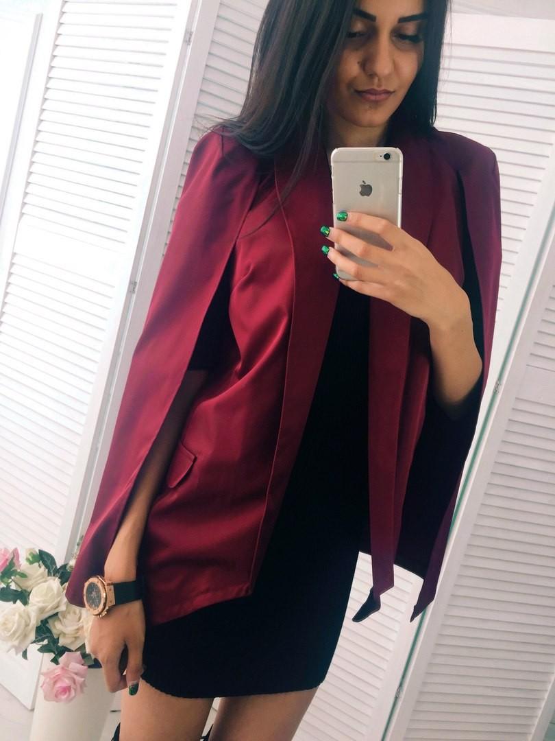 женские пиджаки 2018 года фото: кейп бордовый
