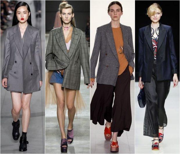 женские пиджаки 2018 года модные тенденции фото: оверсайз серый в клетку серый черный