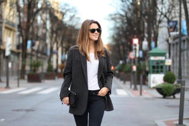 женские пиджаки 2018 года модные тенденции фото: оверсайз серый