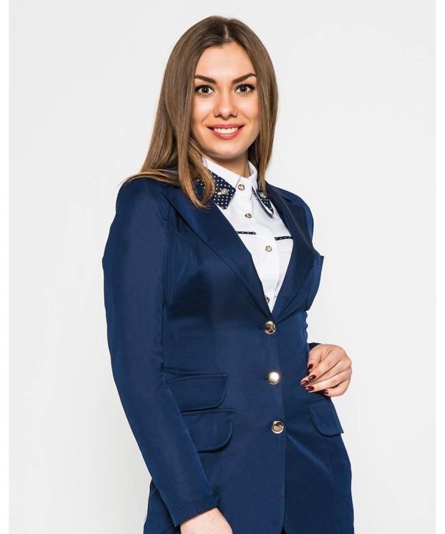 модные пиджаки 2018 женские фото: синий классика