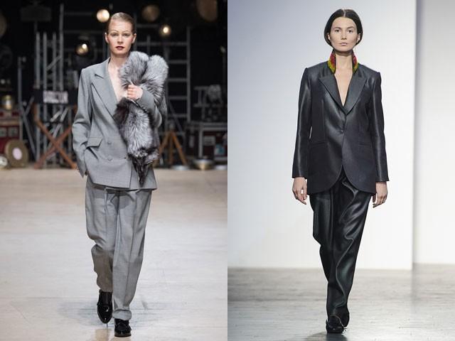 женские пиджаки 2018 года модные тенденции фото: оверсайз серый темно серый