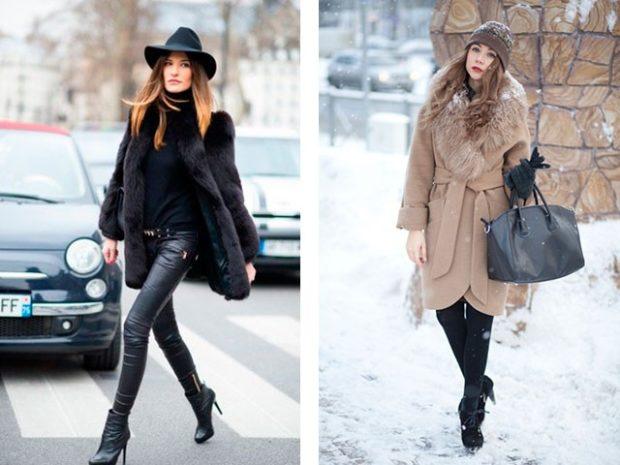 Зимние луки 2018-2019: шуба и пальто с поясом, черное и бежевое