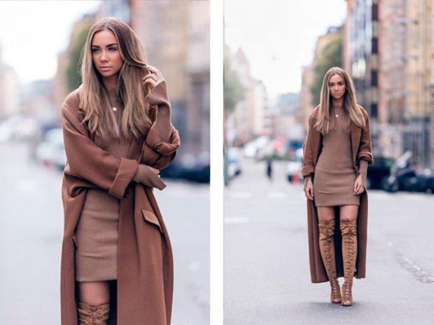 луки для зимы 2020-2021: пальто коричневое
