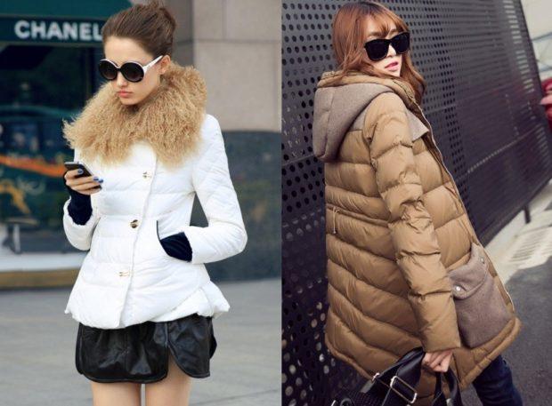 Зимние луки 2018-2019: куртка, коричневая, белая
