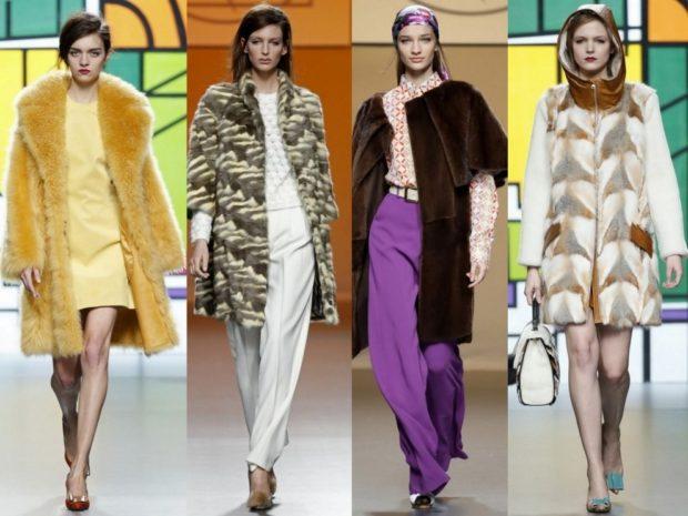 Зимние луки 2018-2019: шуба, пальто, желтое коричневая белая