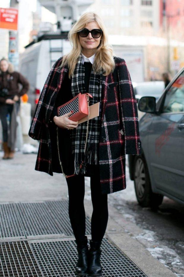 Зимние луки 2018-2019: пальто в клеточку, черное