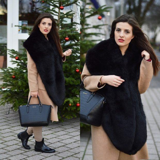 Зимние луки 2018-2019: пальто, бежевое