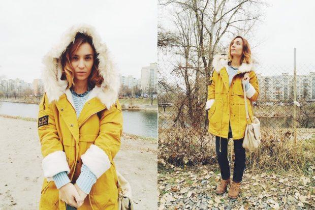 Зимние луки 2018-2019: куртка, желтая