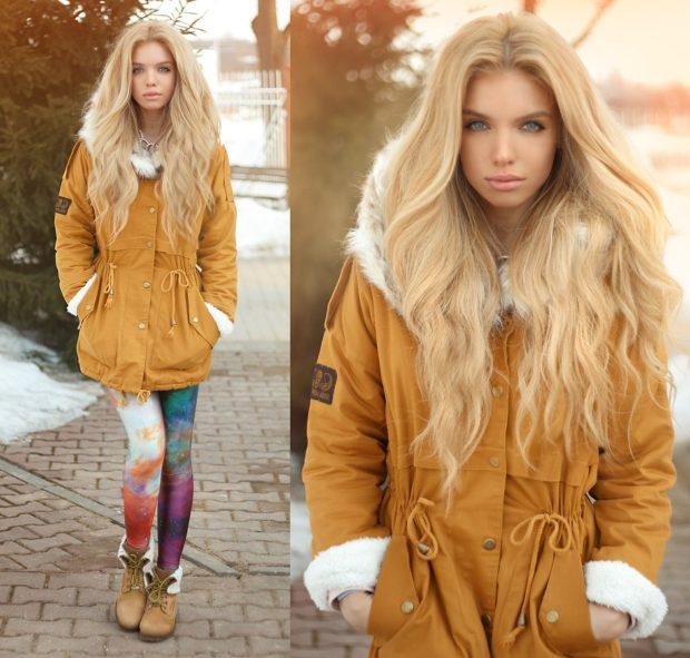 Зимние луки 2018-2019: куртка, оранжевая