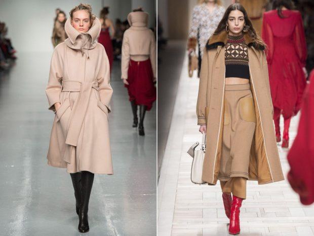 Зимние луки 2018-2019: пальто, бежевое и кремовое с высоким воротником
